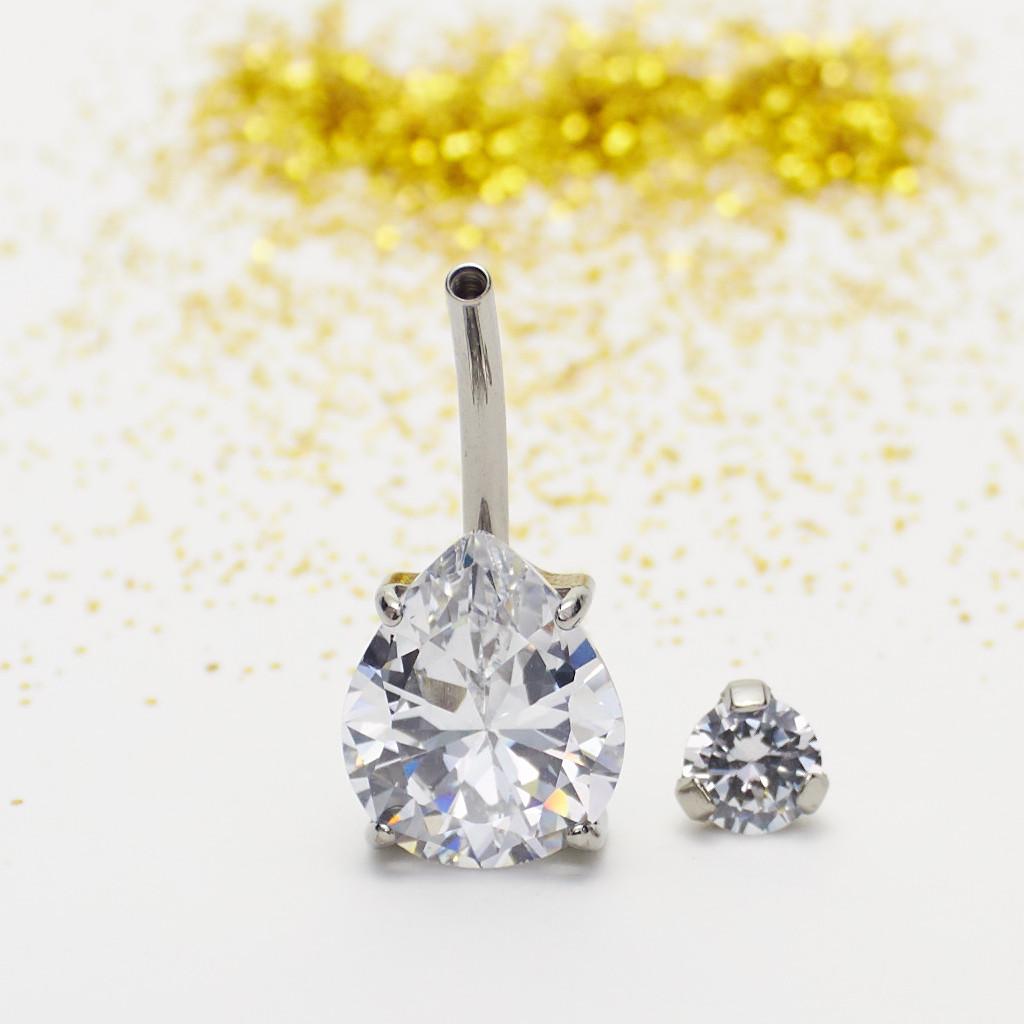 Navel Prong Set Lagrima Zirconia Crystal Engarzado Pulido