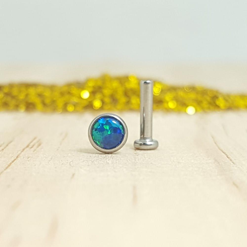 Opalo Azul Verde Bisel Labret Pulido Espejo