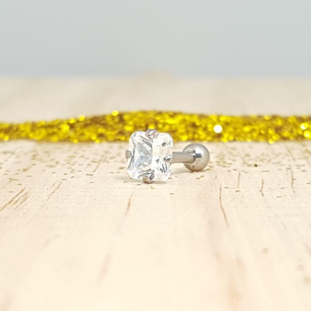 Swarovski Crystal Cuadrado Engarzado Barbell Pulido Espejo