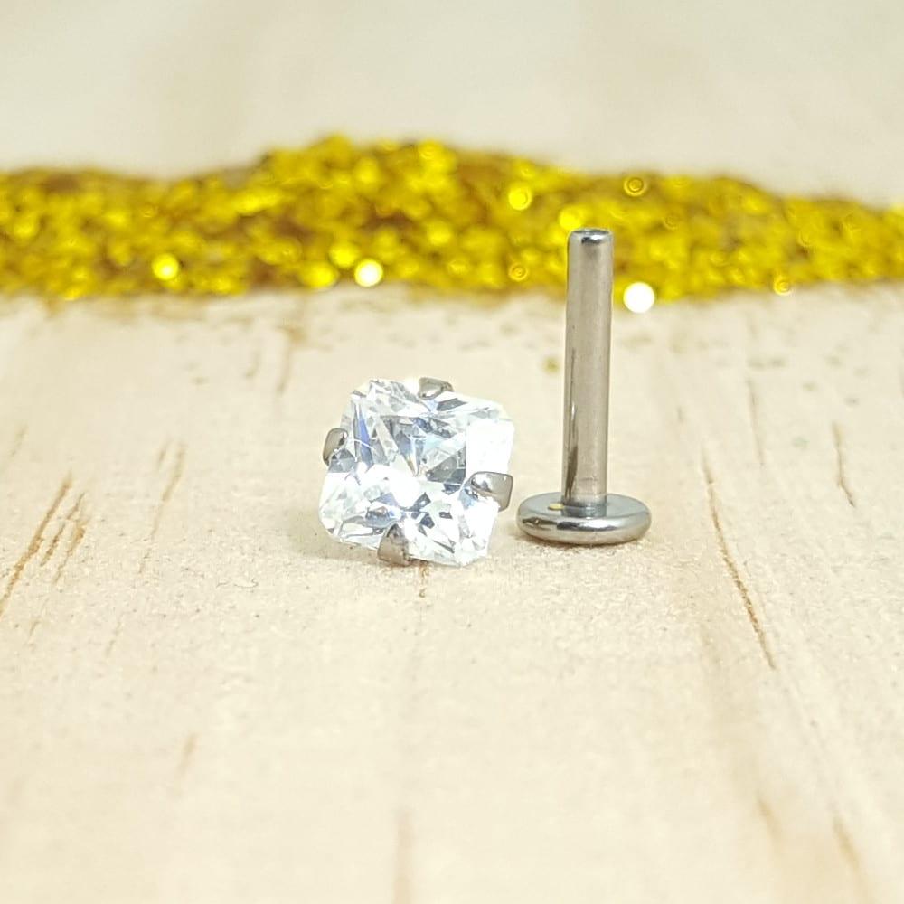 Swarovski Crystal Cuadrado Engarzado Labret Pulido Espejo